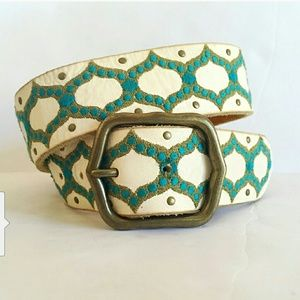Lucky ivory embroidered blue & green leather belt